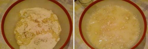 # نضع 400غ طحين الحمص +الملح مع الذوق+فنجان زيت # ثم نضع لترين من الماء و نحرك بالخلاط اليدوي و الي عندو كهربائي احسن وانا اخترت التقليدي