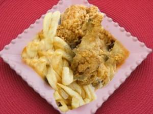 دجاج مقلي مع الشربة الزعرة