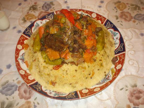 كسكس  بالقديد  من المطبخ المغربي