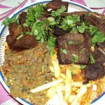 طبق مشاوي :سلطة مشوية + بطاطا مشوية + لحم مشوي