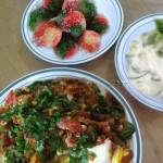 أطباق رمضانية: طبق الخضار، سلطة خيار و بطيخ، كويرات السكر